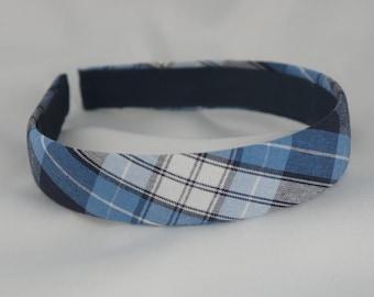 School Uniform Headband - Light Blue Plaid