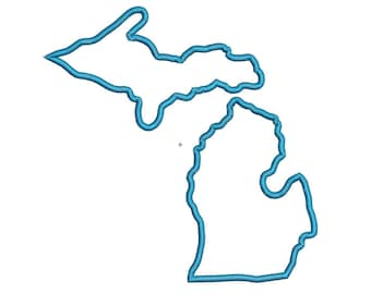 Michigan State Applique Embroidery Design in 4 Sizes
