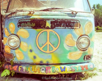 Hippy Van - Wall Art - Retro Print - Vintage Car Photography - Garage Art - Rust - Blue - Peace Sign - 8x10 print