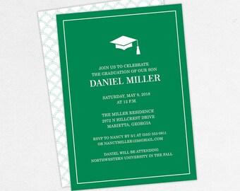 Graduation Invitation, Graduation Announcement, Printable Invite, Invitation PDF, DIY Graduation, Printed Invites, Modern, Boy, Dan, Green