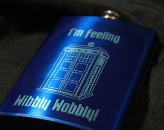 Flask - Dr who Inspired 8oz Blue Metallic Stainless Steel Flask with laser etching