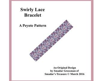 Peyote Bracelet Beading Pattern, 3 Drop, Odd Count Peyote Stitch / Swirly Lace Bracelet / Off Loom Beadwork Beadweaving Bracelet Pattern