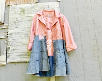 Duster, Pink Jacket, Art Jacket, Upcycled Clothing Women, Floral, Unique Clothing, Wearable Art, Floral, CreoleSha