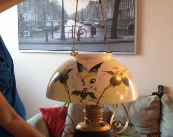 Antique victorian hanging oil lamp glass shade Rayo light fixture electric butterfly milk glass  hand painted