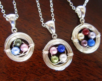 Personalized Mother's Necklace-Silver Bird's Nest Necklace-Grandmother-Family Necklace