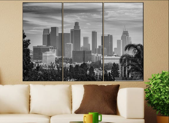 Los Angeles  canvas Los Angeles wall decoration Los Angeles canvas art Los Angeles large canvas black white print skyline