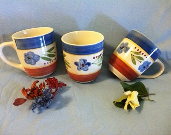 Blue Floral Mugs Vintage Gibson Blue Red Green White Flowered Ceramic Cups Drinkware Kitchen Dining Serving Mugs Coffee Tea Cocoa Cups