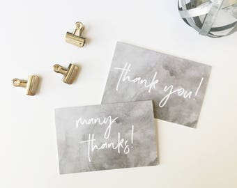 Thank You Card Set, Watercolor Thank You Cards, Printed Cards, Thank You Notes, Wedding Thank You, Gray and White, PHYSICAL PRINT