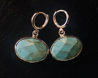 Oval Faceted Turquoise Filled Sterling Silver Dangle Earrings