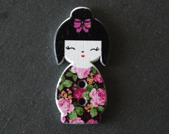 Fancy doll Japanese Kokeshi 30 x 15 mm wooden button