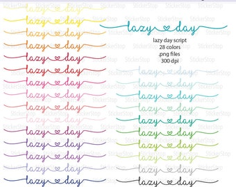 Lazy Day Icon Digital Clipart in Rainbow Colors - Instant download PNG files