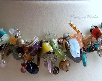 fringe bracelet. sterling silver. gemstones series. multicolored