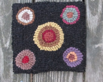 Small Trivet Sized Primitive Pennies Original Hooked Rug by Sharon Perry