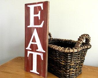 Eat Sign (red) - Kitchen Decor  - Kitchen Sign - Rustic Wall Decor - Farmhouse Decor