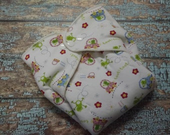 Organic Cotton Winged Prefold-- Toot Toot Froggy Cloth Diaper Sized
