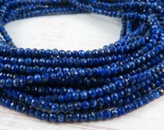 """Lapis Lazuli Micro-Faceted Rondelles, AAA, 2mm ~ 13"""" Strand"""