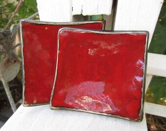 Two Christmas Red Ceramic Dishes Serving Plates Holiday Decor