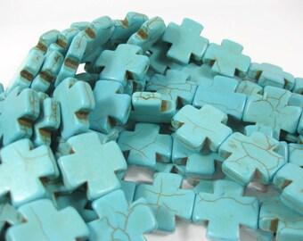 20mm x 20mm Turquoise Howlite Cross Beads