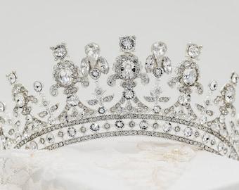 Swarovski crystal tiara, gold, silver, queen Elizabeth, princess, any colour Bridal head piece, prom, hair accessory, pageant headdress,
