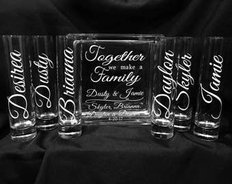 Family Blended Unity Sand Ceremony Glass Containers - Glass Block with Together we make a Family - Personalized - Side vessels - White