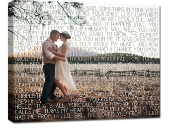 Gifts for Couples/  First Dance Lyrics/ Custom Canvas / Your Wedding Photo with your Lyrics/ Photo Gift ideas/ Personalized