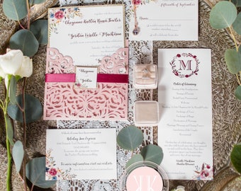Invitation Suite- Pink Boho Floral Diecut Wedding