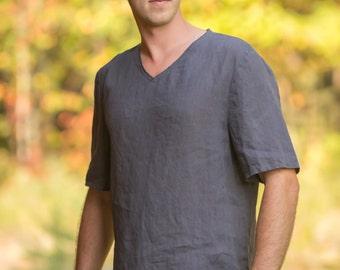 Linen Top  Mens/ Linen T-Shirt For Men/ Linen Mens Underwear/ Mens Sleepwear Top/ Linen Nightwear For Men