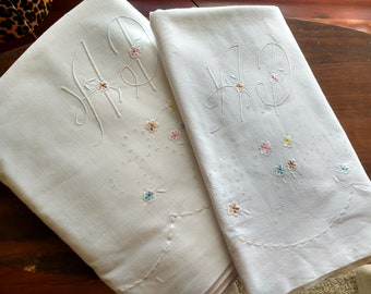 Vintage French  white pure cotton multicolored embroidered bedsheet/pillow case (AP Monogram)