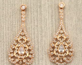 Vintage Chandelier Earrings, Rose Gold Chandelier Earrings, Bridesmaid Earrings, Vintage Drop Earrings, Rose Gold, Sterling Silver E002