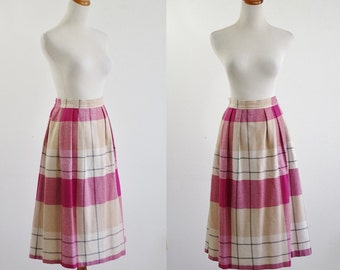 Vintage Plaid Skirt, 80s Pleated Skirt, Pink and Beige Plaid Skirt, 1980s Skirt, Knee Length Skirt, Large XL