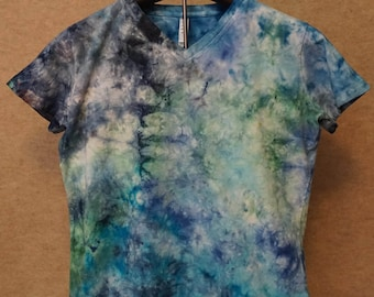 Fractal crystal Effect L.A.T.  Ladies Large Crew Neck Short Sleeve. Tie-dye  Tshirts, ice dyed.-LSSL1056