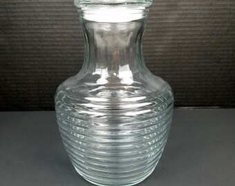Vintage Anchor Hocking Glass Ribbed Bee Hive Juice Carafe Container With Lid