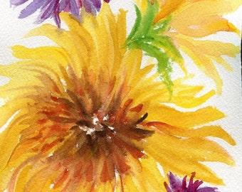 Original  Sunflowers Watercolor painting, purple flowers, Watercolor Flowers Painting, Small Floral Wall Art 5 x 7 SharonFosterArt