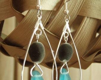 "Mgambo Seeds / Velvet Seeds ""Ocean Splash"" Earrings In Silver Teardrop Hoops / With Beautiful Sea Glass Blue Czech Leaves. Hawaii Earrings!"