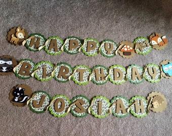Woodland animal birthday banner