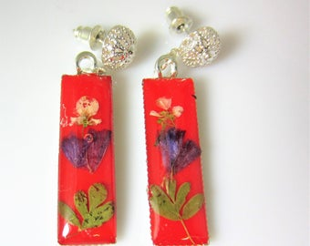 Flowers on Red,  Real Flowers Small Post Earrings,  Pressed Flower Earrings, Real Flower Jewelry,  Dangles,  Resin (3031)