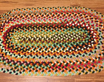 MADE TO ORDER, Hand Braided Oval Rug  Confetti Colors