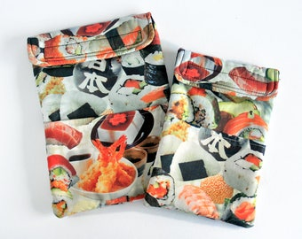 Tablet and e-reader soft case, graphic pad pouch - Wadded sushi fabric for Nook, Galaxy Tab 7, LG Optimus and A5 size Graphic Pads