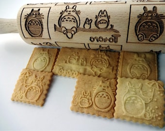 TOTORO Embossing Rolling Pin. Laser engraved rolling pin with TOTORO pattern