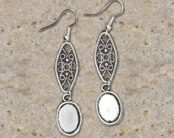 Earrings cabochon 10 X 14 mm, filigree