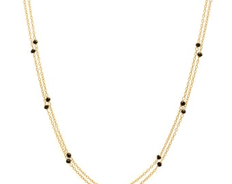 Black Spinel Chain Necklace - Extra Long 46in. Necklace - 14k Gold Filled - Small Faceted Black Spinel Gemstones - Gold Chain