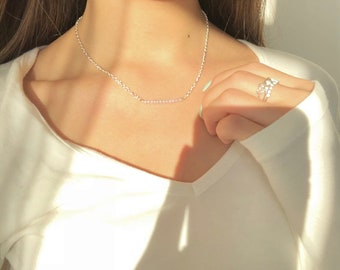 Rose silver chain choker-necklace