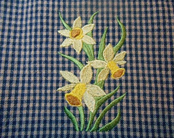 Kitchen Towel, Daffodil Flower Towel, Quality Cotton Towel, Navy Blue Check Towel, Springtime Towel, Towels, Mother's Day Gift Made To Order