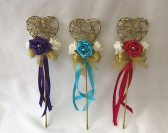 Heart wedding flower girl wand with flowers