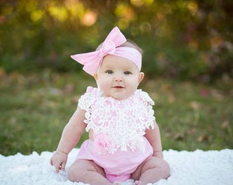 Baby Girl Lace Romper & Headband. Newborn Baby Girl Coming Home Outfit, 1st Birthday, Summer Set, Baby Shower Gift, Flower Girl, Pink White