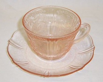 MacBeth-Evans Depression Glass Pink AMERICAN SWEETHEART Cup and Saucer