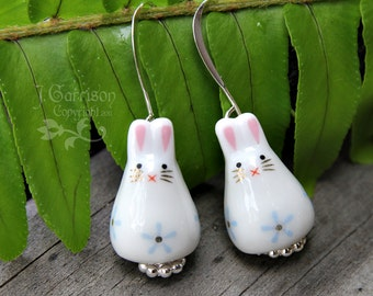 Adorable bunny rabbit earrings - painted ceramic bunny beads with blue flower on silver earwires - great gift -Free Shipping USA