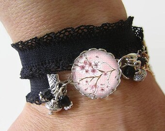 Bracelet Cotton spandex with a 18 mm cabochon * cherry blossom * (050218)