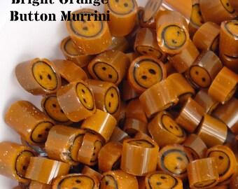 Bright Orange 2 hole button murrini CoE 104 glass