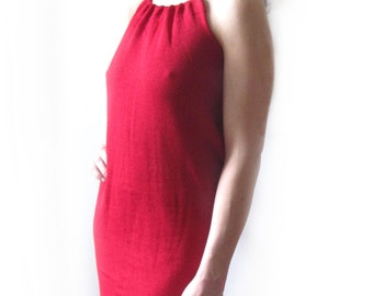 red knitted summer cotton dress